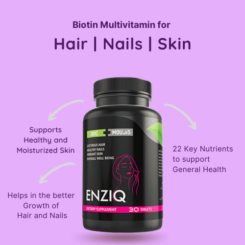 Enziq Biotin For Hair Growth , Stronger Nails And Glowing Skin